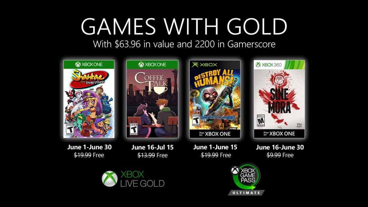 Xbox Games With Gold revealed for June 2020