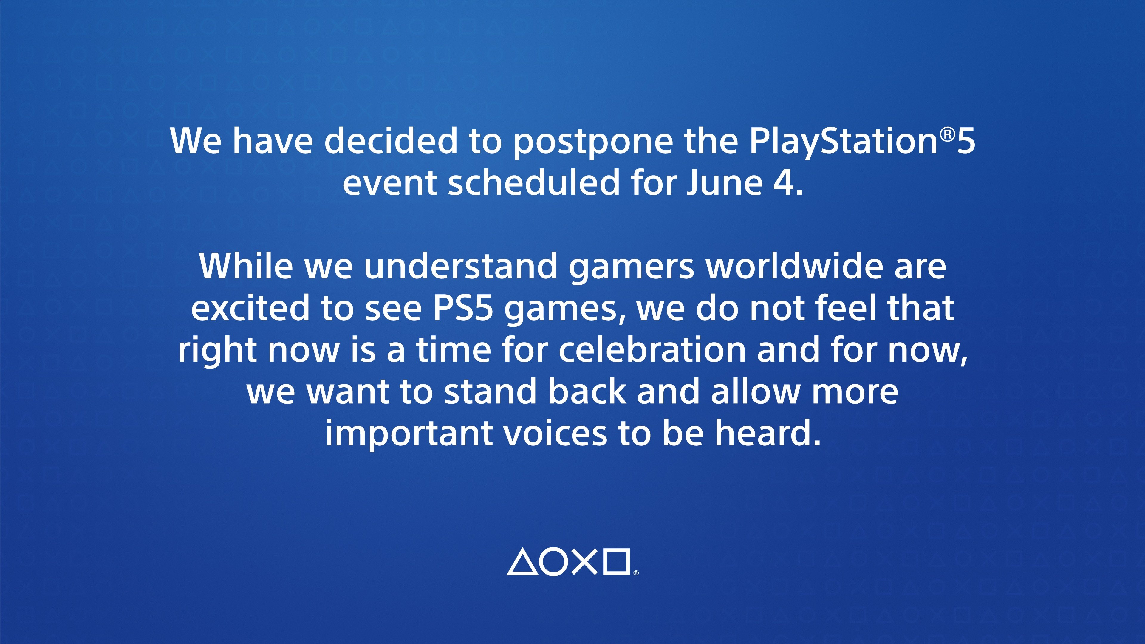 PS5 reveal on June 4 postponed by Sony