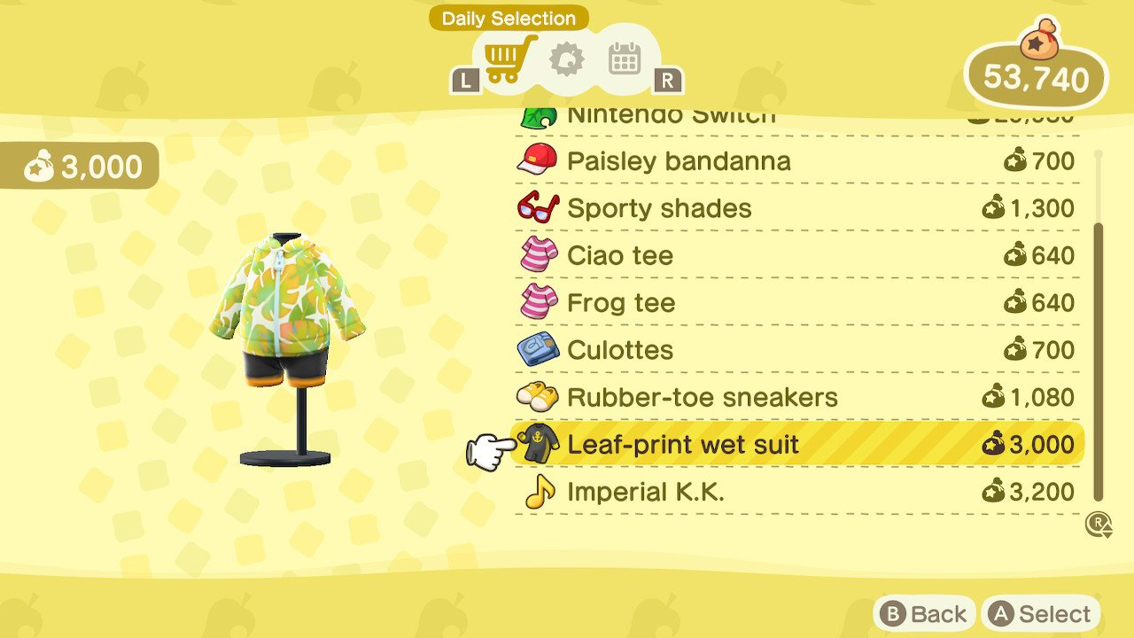 Animal Crossing New Horizons swimming wetsuit