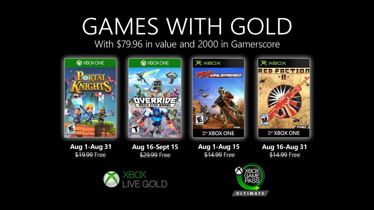 Xbox Games With Gold for August 2020