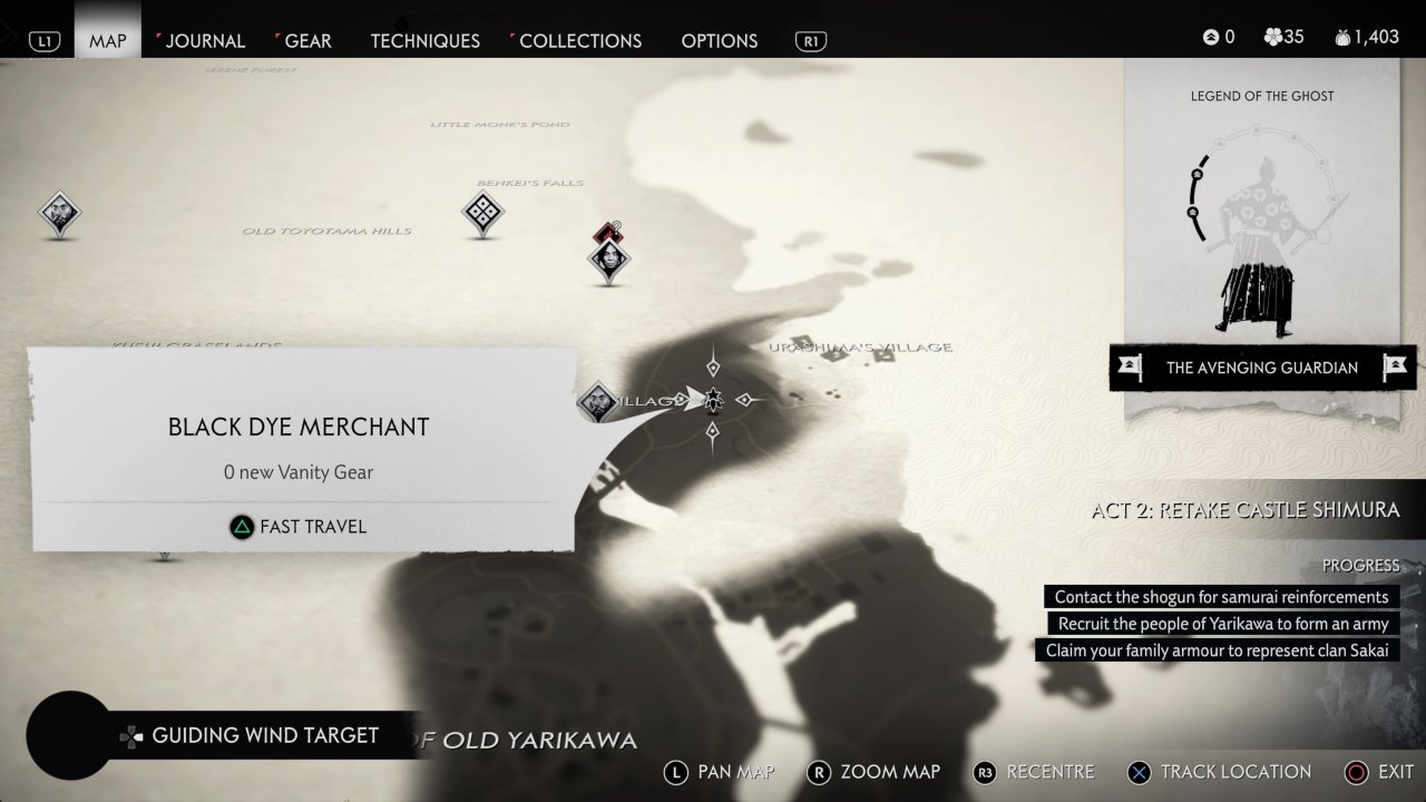 Black Dye Merchant location in Ghost of Tsushima
