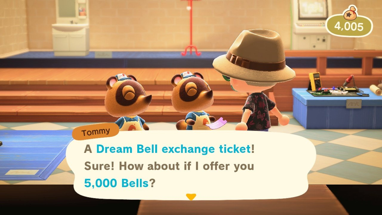 How to use dream bell exchange tickets animal crossing new horizons