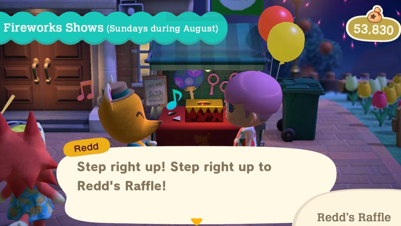 Redd's Raffle prizes in Animal Crossing New Horizons