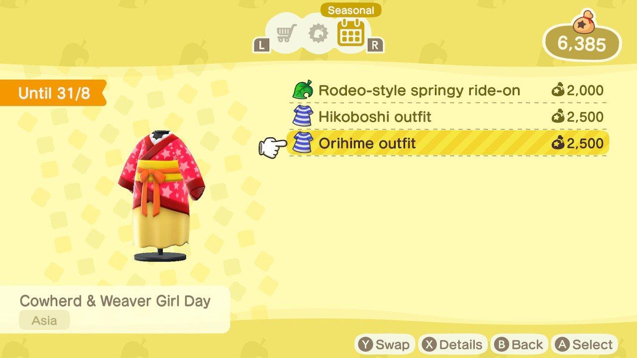 Animal Crossing New Horizons seasonal items orihime