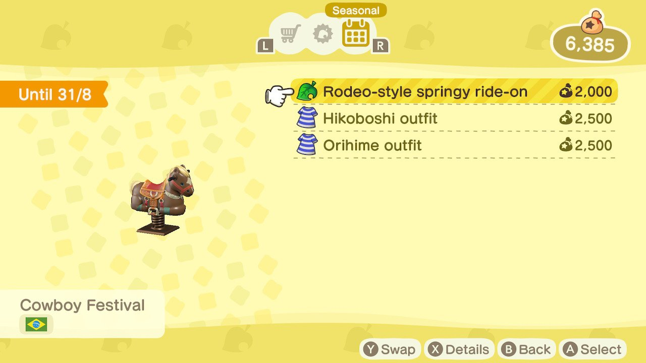 New Animal Crossing Seasonal Items rodeo-style springy ride on