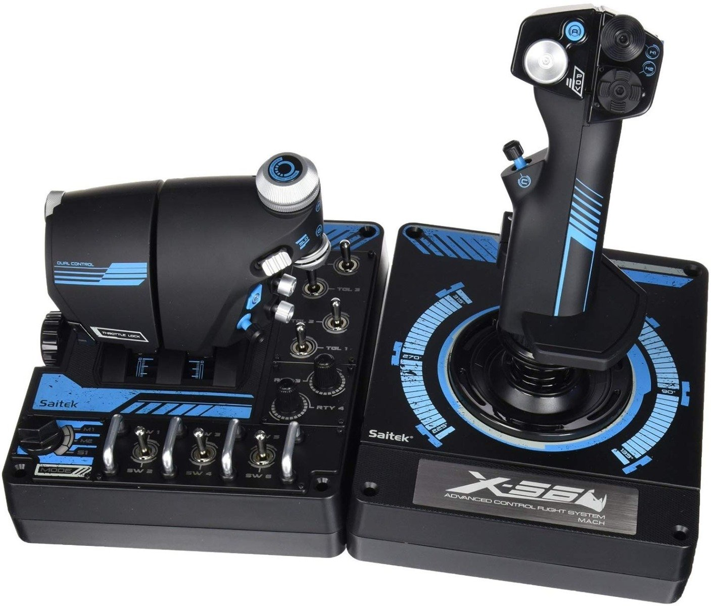 Our runner-up HOTAS pick is the Logitech G X56 Rhino (or just the standard one if you don't like the blue)