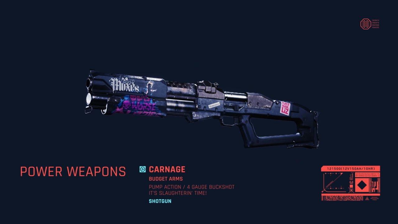 All shotguns in Cyberpunk 2077