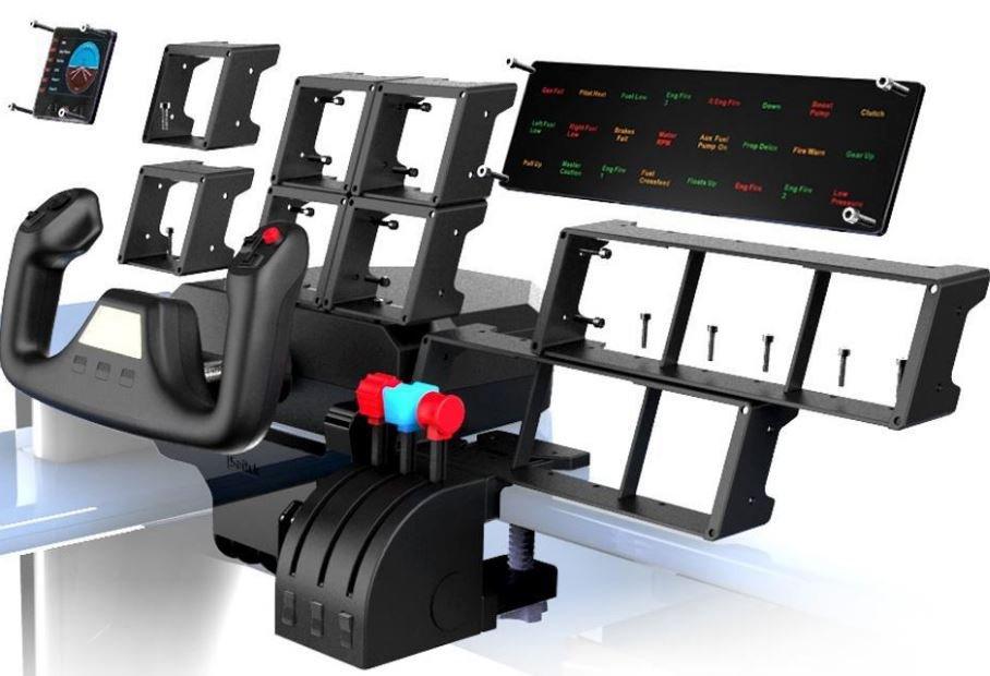 The Logitech G Saitek Pro Flight range can be assembled into a full cockpit.