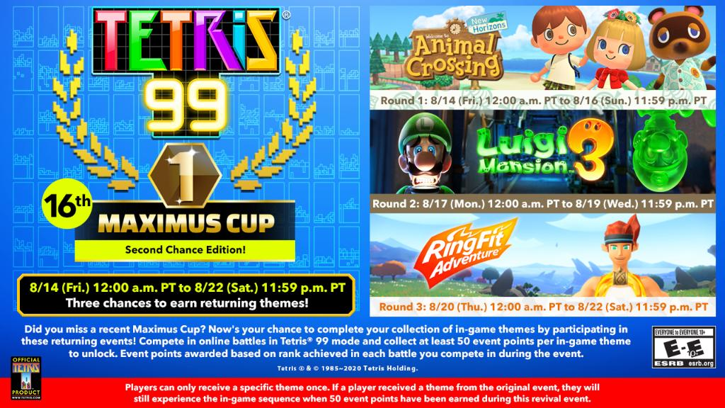 Tetris 99 lets players pick up three previous themes