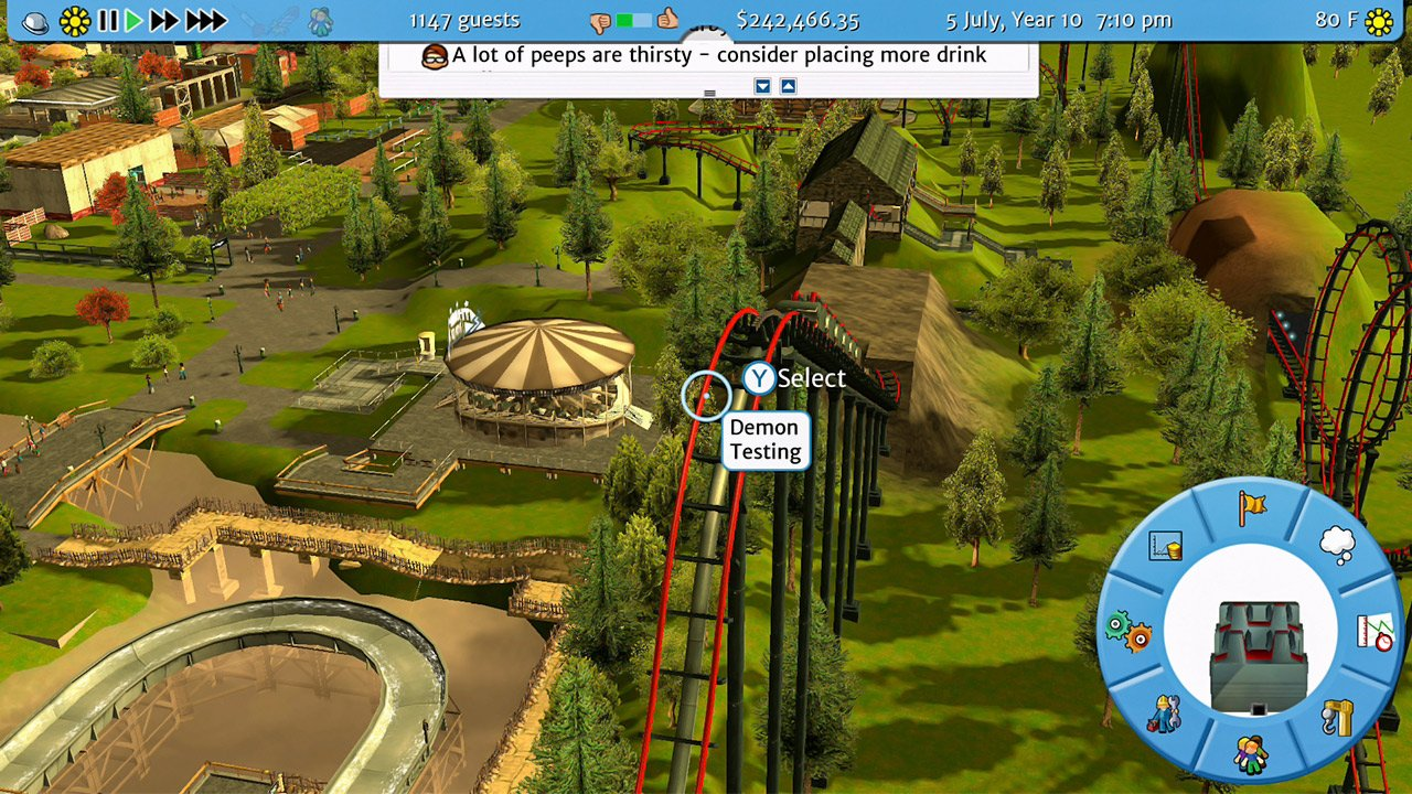 The reworked UI for RCT3 on Switch is just for your thumbs. Photo: Frontier