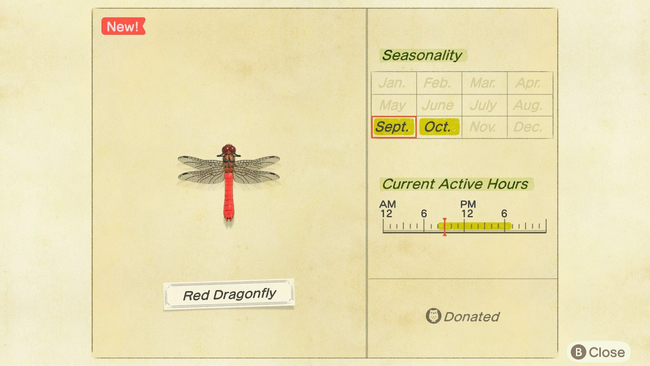 How to catch red dragonfly in Animal Crossing: New Horizons