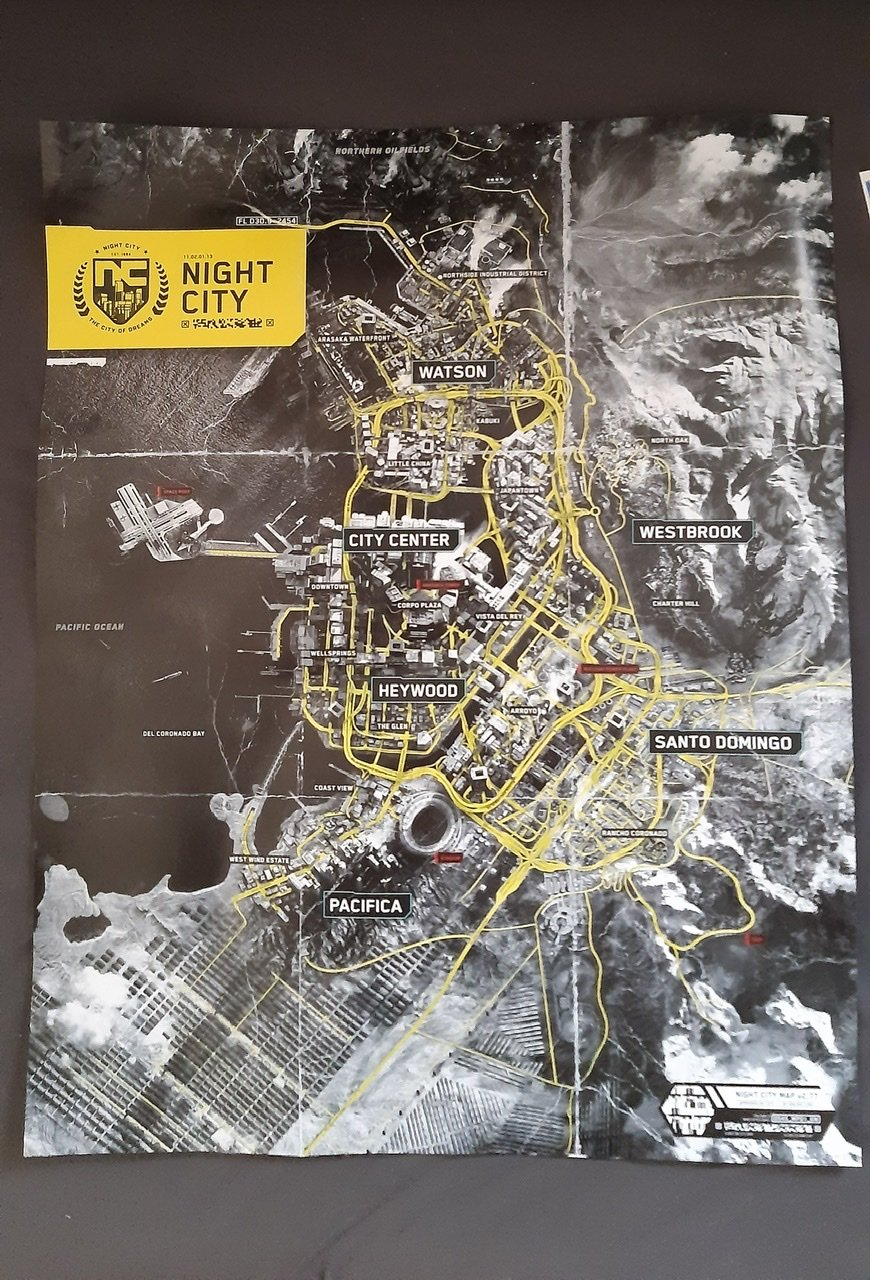 Cyberpunk 2077 map of Night City as it appears in retail boxed copies of the game.