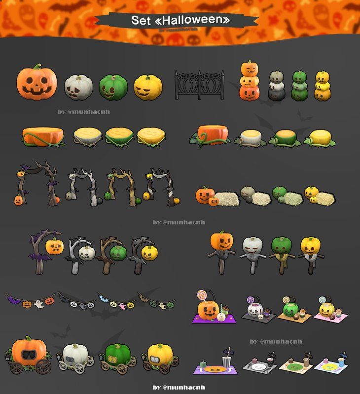 Animal Crossing New Horizons Halloween shop items set