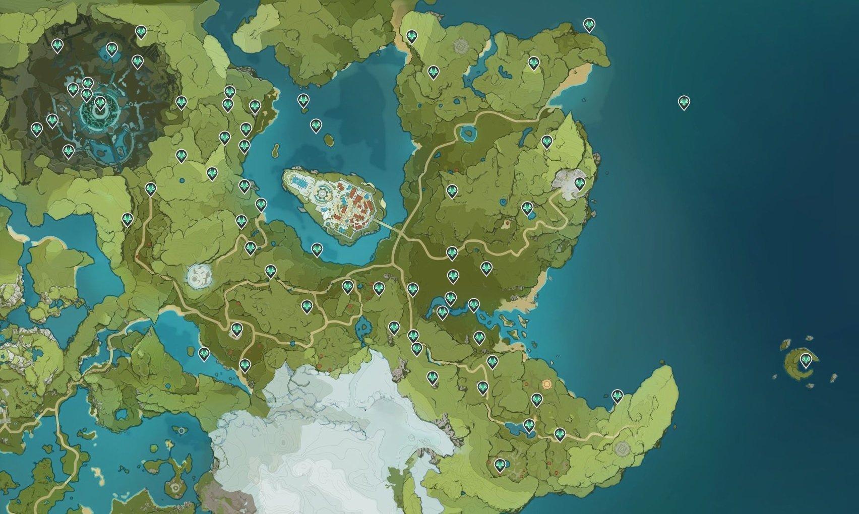 Genshin Impact Anemoculus locations map © miHoYo