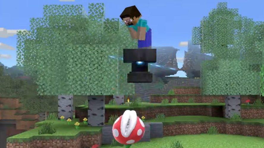 Smash Ultimate minecraft steve moveset down air