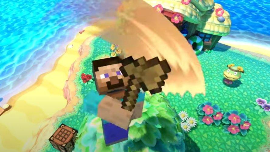 Minecraft Steve moveset smash ultimate up air