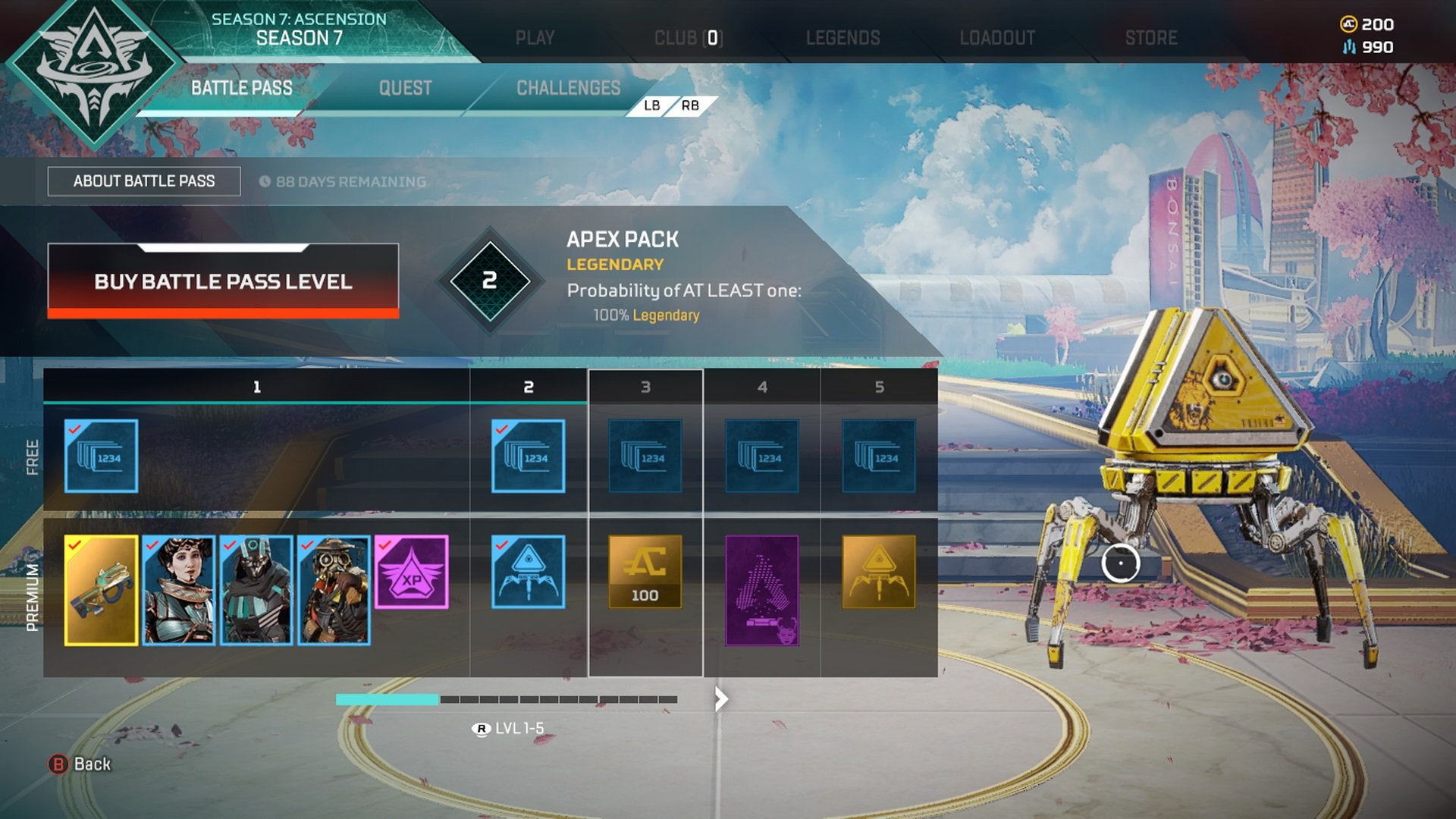The Apex Legends Season 7 battle pass takes quite a lot of effort to level up, © u/GrubbyLilPaws