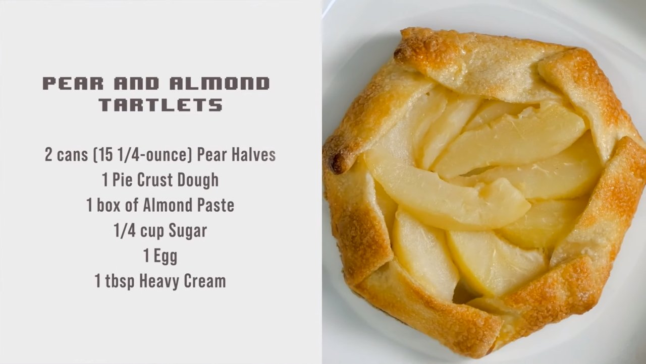 Boss Bytes Animal Crossing recipes pear and almond tart