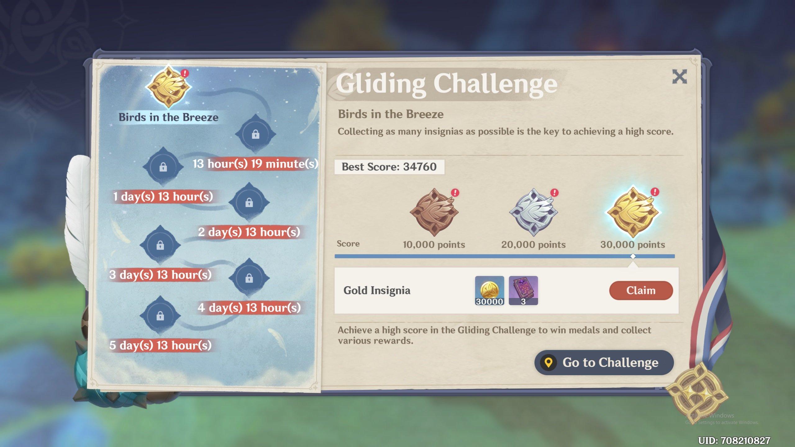 Genshin Impact gliding challenge rewards