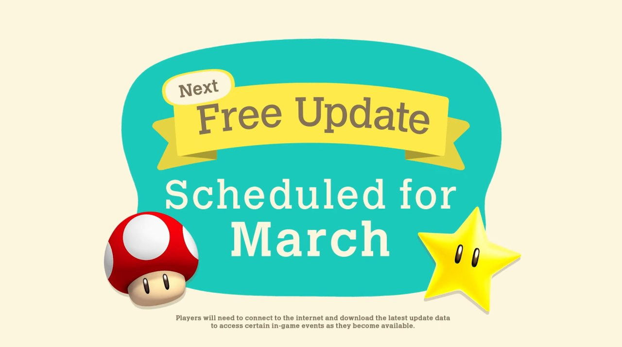 Animal Crossing super mario bros update pave