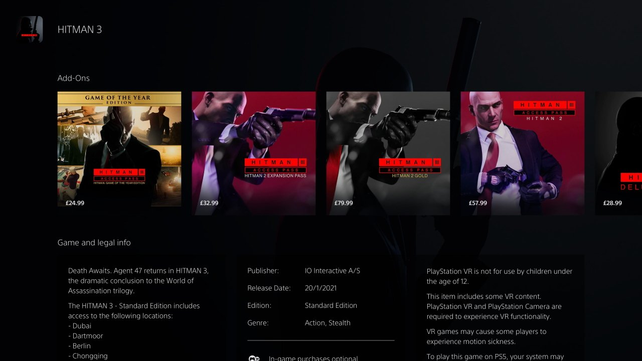How to access hitman 1 and 2 content in Hitman 3