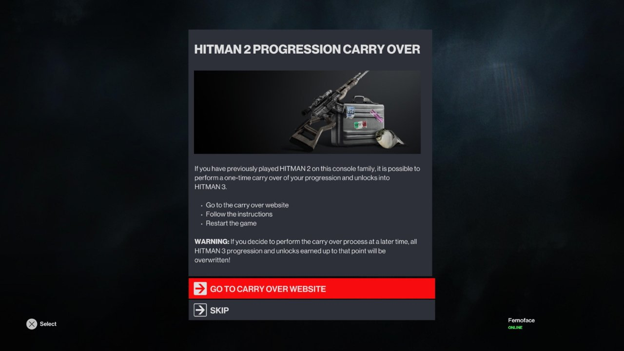 How to carry over progress hitman 3