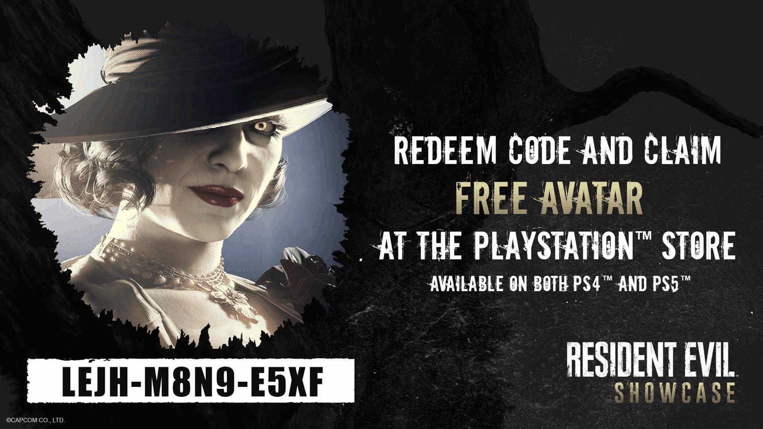 Resident Evil village PSN avatar code PS4 PS5