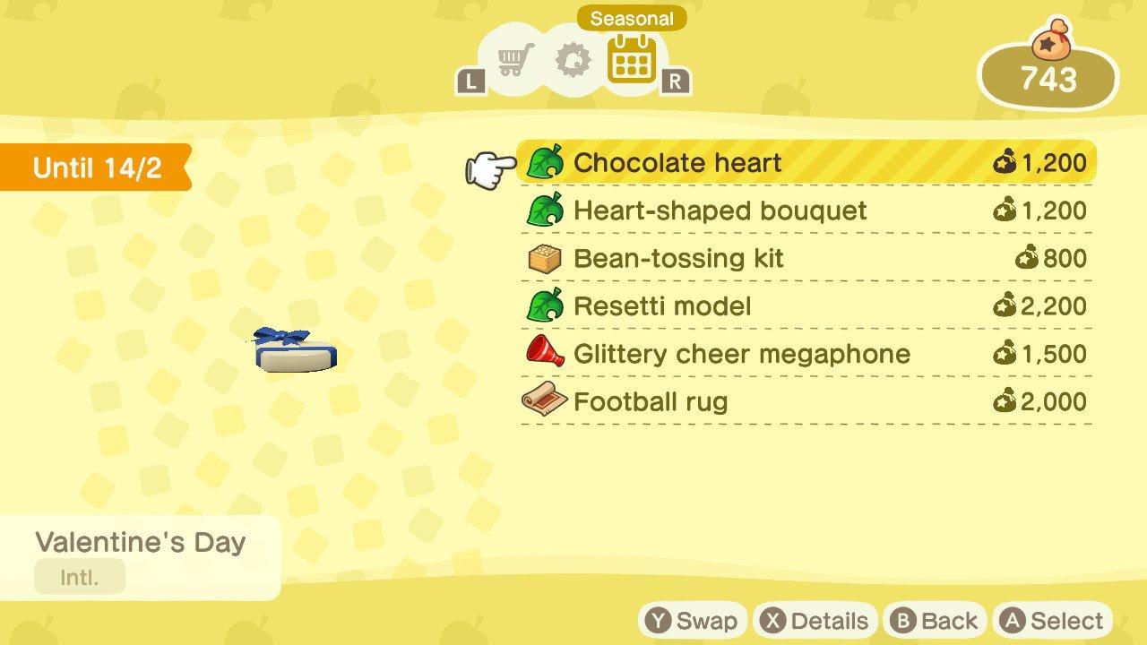 Animal Crossing new horizons valentines day items chocolate