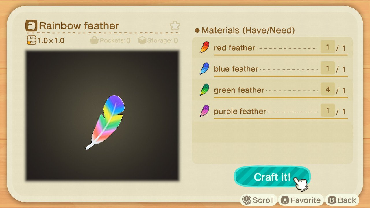 how to get rainbow feather animal crossing new horizons