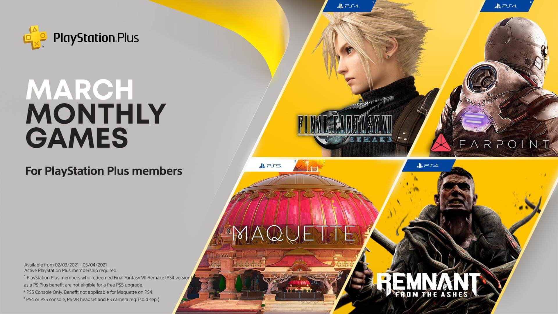 The advertisement for March's PS Plus free games, including FF7 Remake and Maquette.
