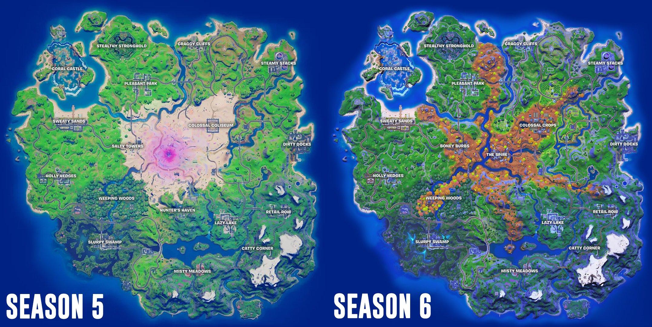 Fortnite Season 6 map changes comparison