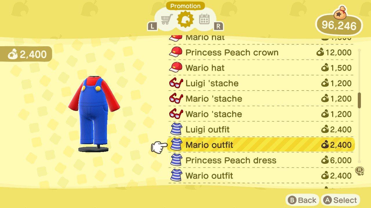 Mario Items list animal crossing new horizons
