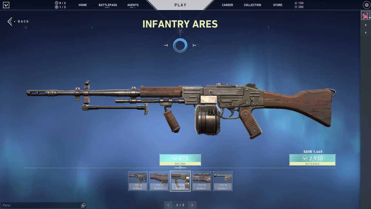 Valorant Infantry skins Ares