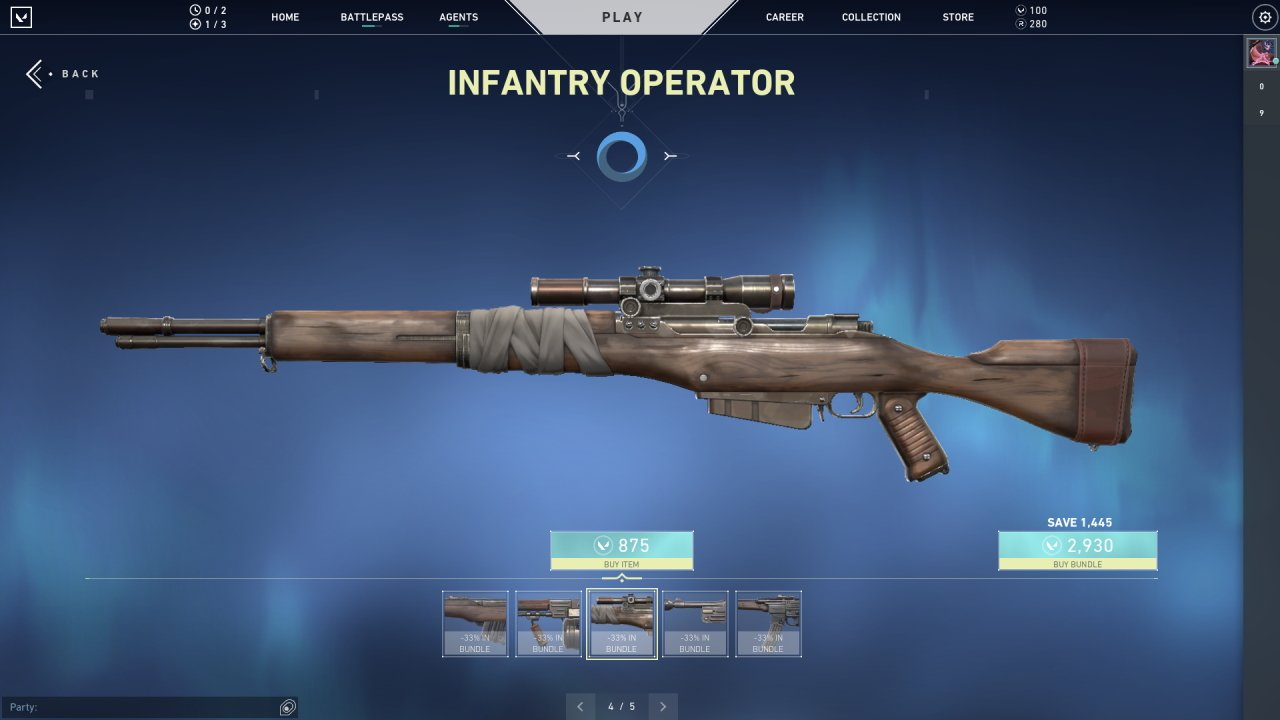 Valorant infantry skins operator