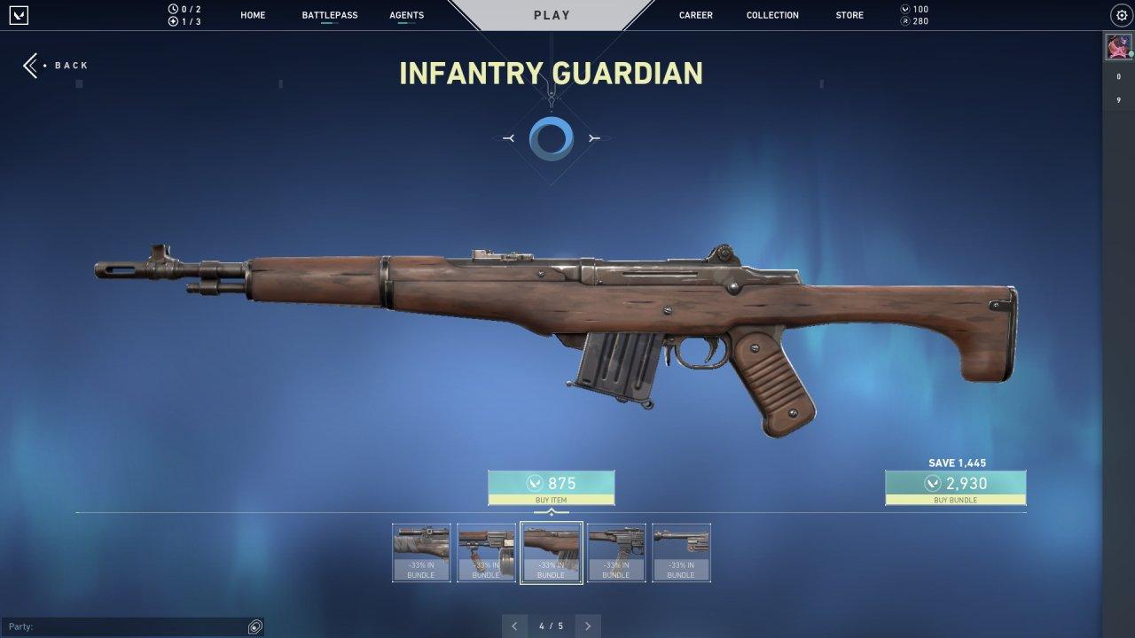 Valorant Infantry skins Guardian