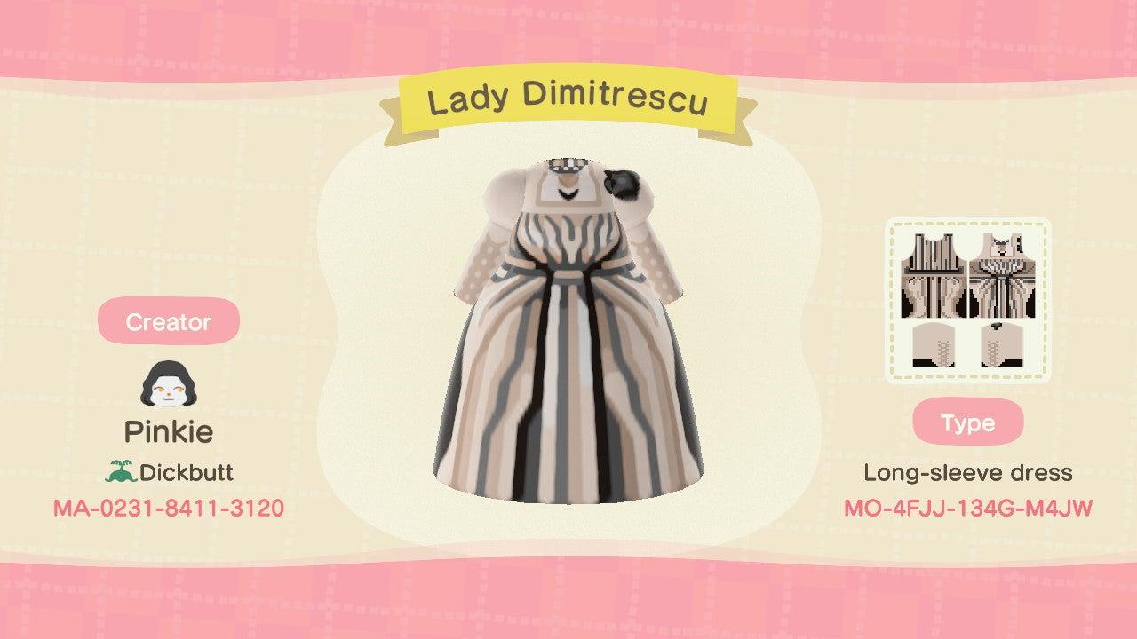 Lady Dimitrescu design animal crossing new horizons