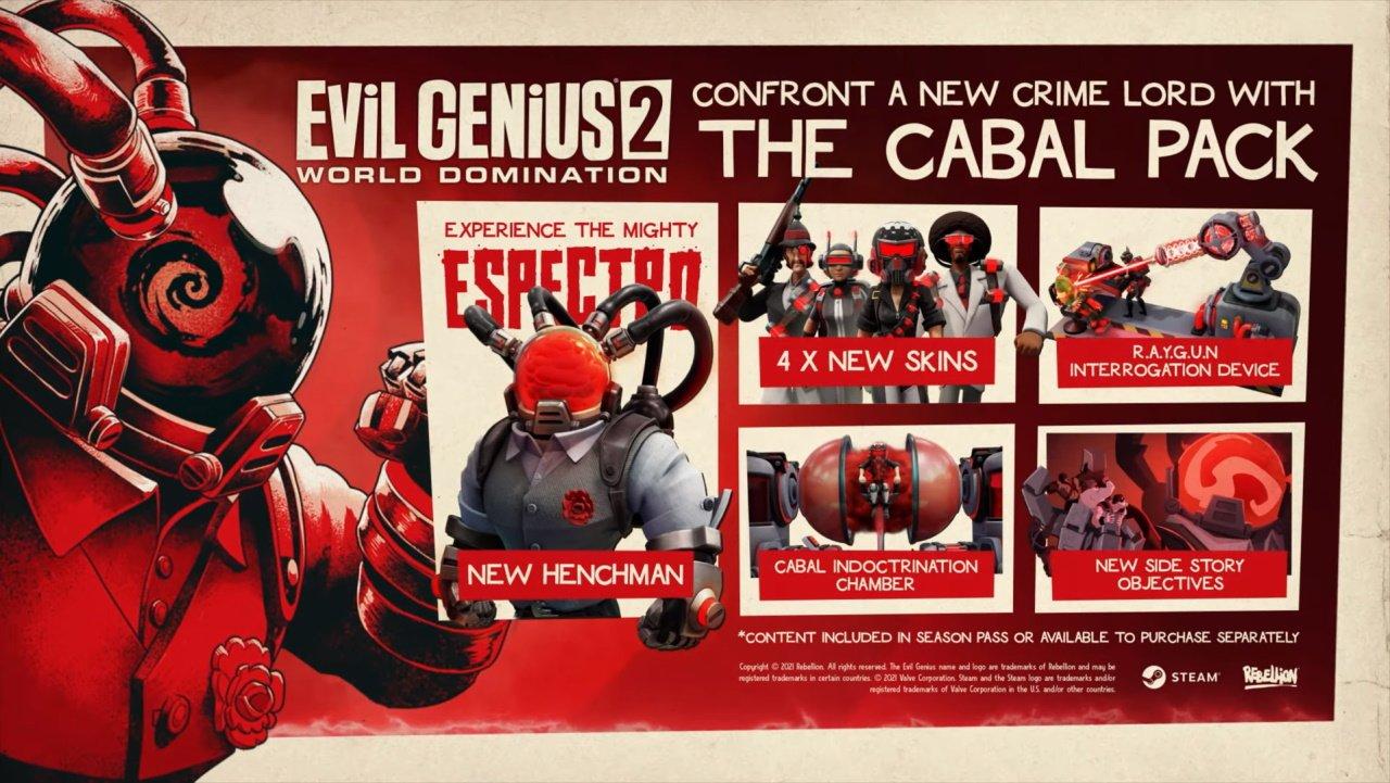 Evil genius 2 dlc the cabal trailer revealed