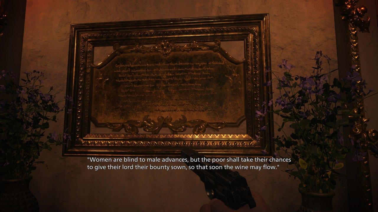 Resident Evil Village statue puzzle solution castle dimitrescu wine room