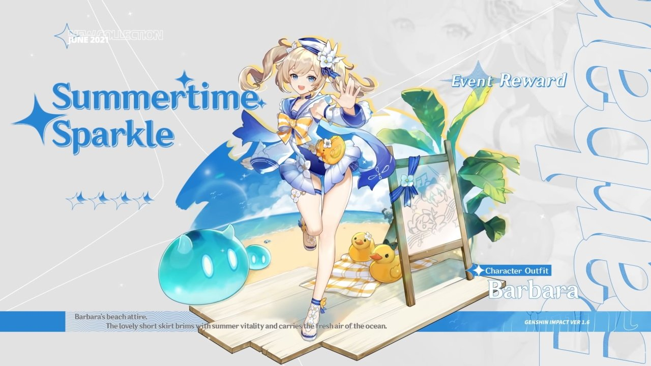 Barbara Summertime sparkle outfit Genshin Impact