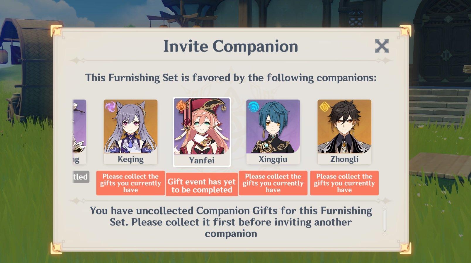 Genshin Impact invite companion gift receiving
