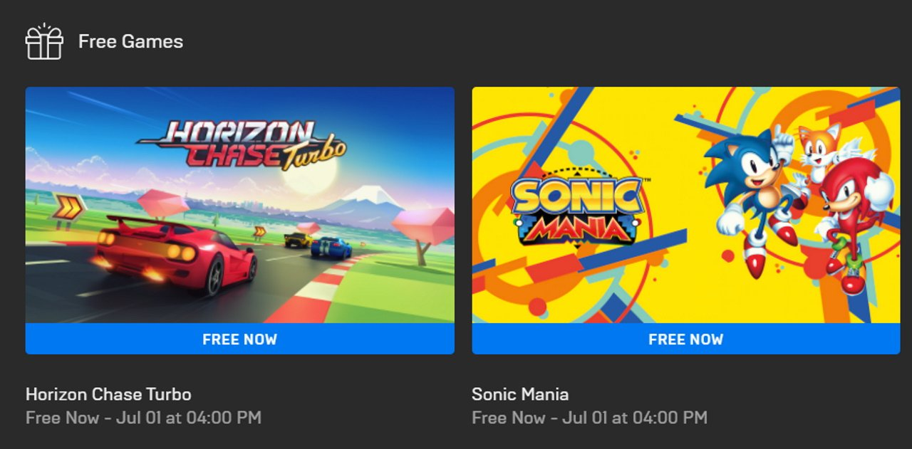 Sonic Mania free epic games store