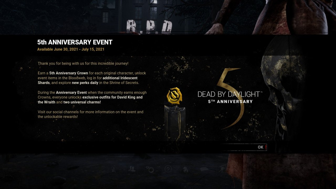 Dead by Daylight 5th Anniversary codes