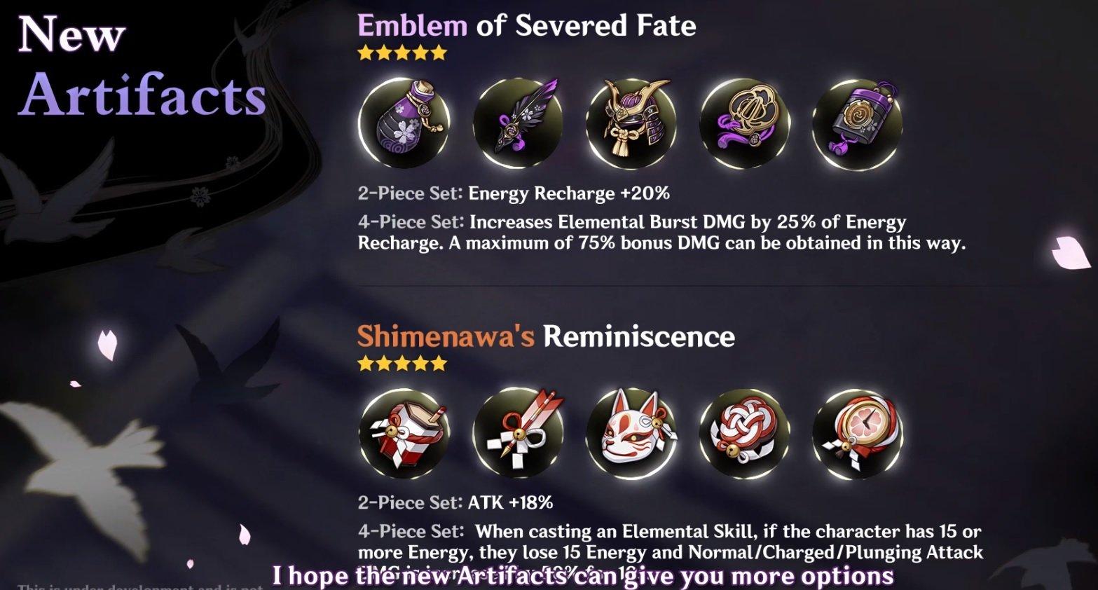 Genshin Impact new artifacts inazuma