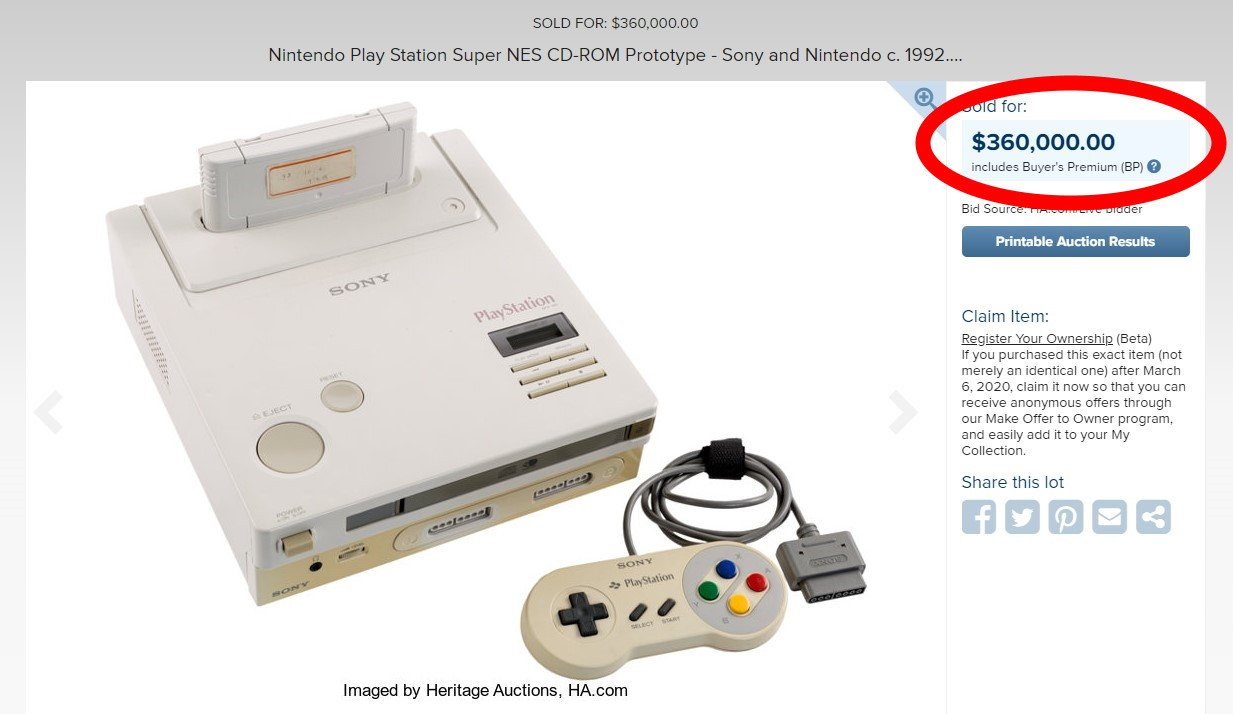 The Nintendo PlayStation prototype listed by Heritage Auctions went for just a fraction of Mario 64's price.