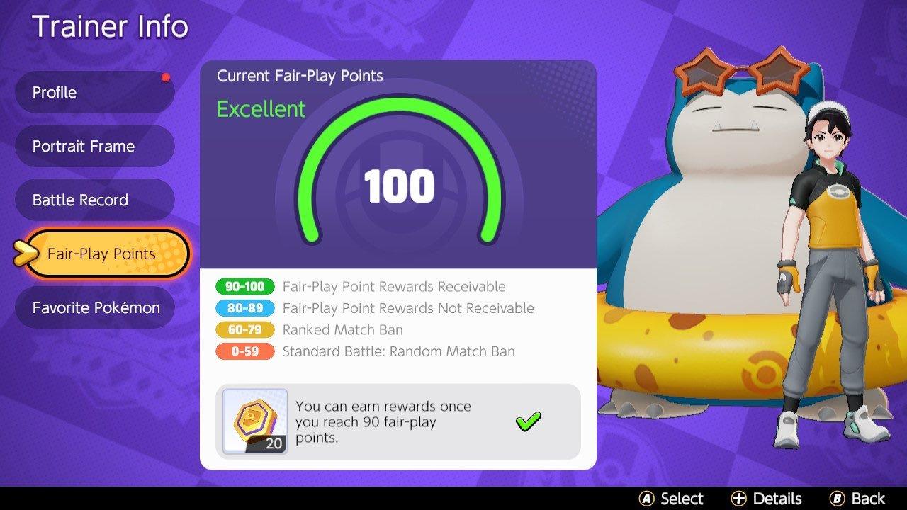 Pokemon Unite Fair Play Points explained © Nintendo