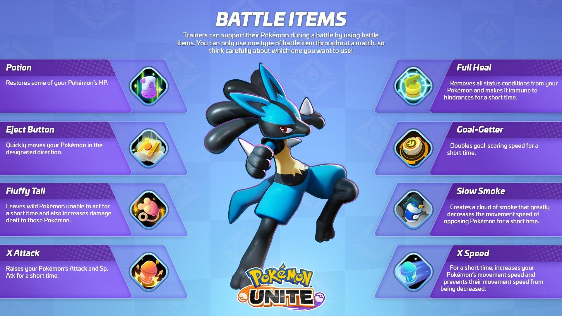 Pokemon unite items list all battle items