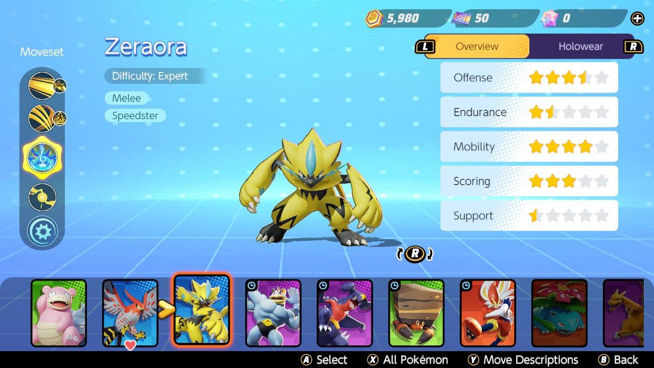 Zeraora stats pokemon unite free unlock