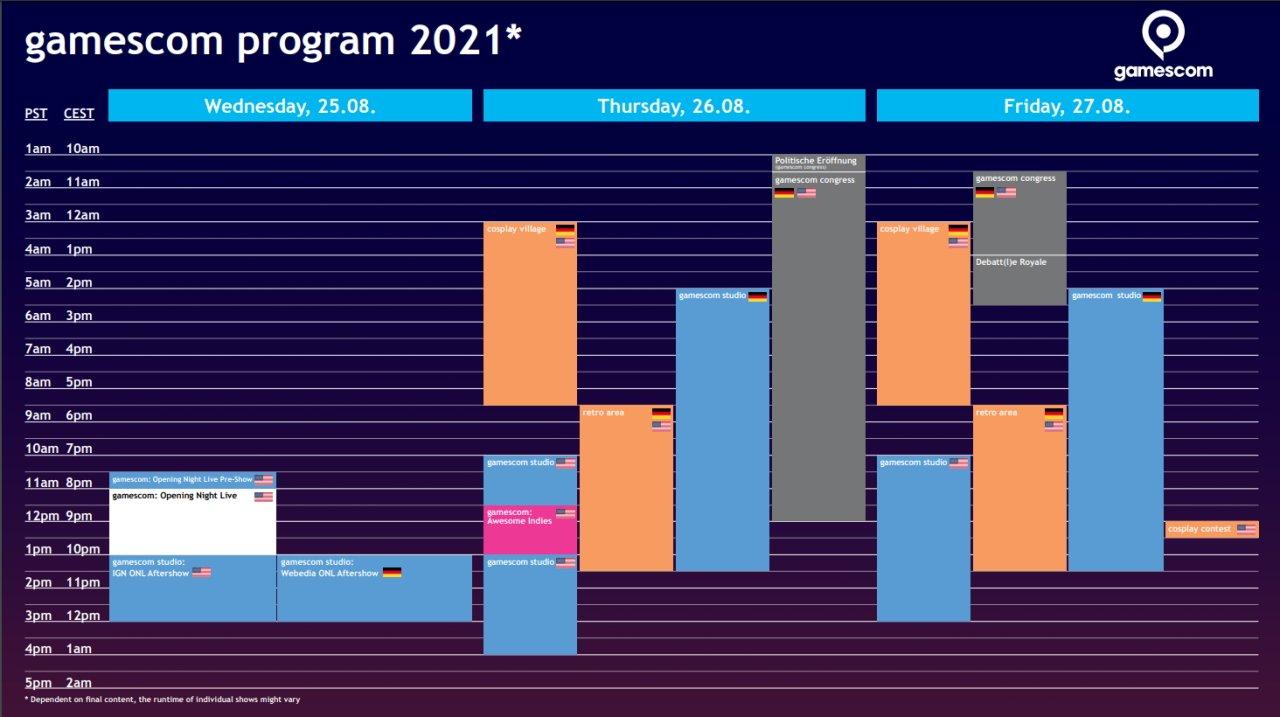 Gamescom schedule shows when is gamescom?