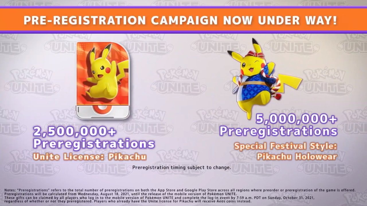 Pokemon Unite mobile pre-registrations pikachu