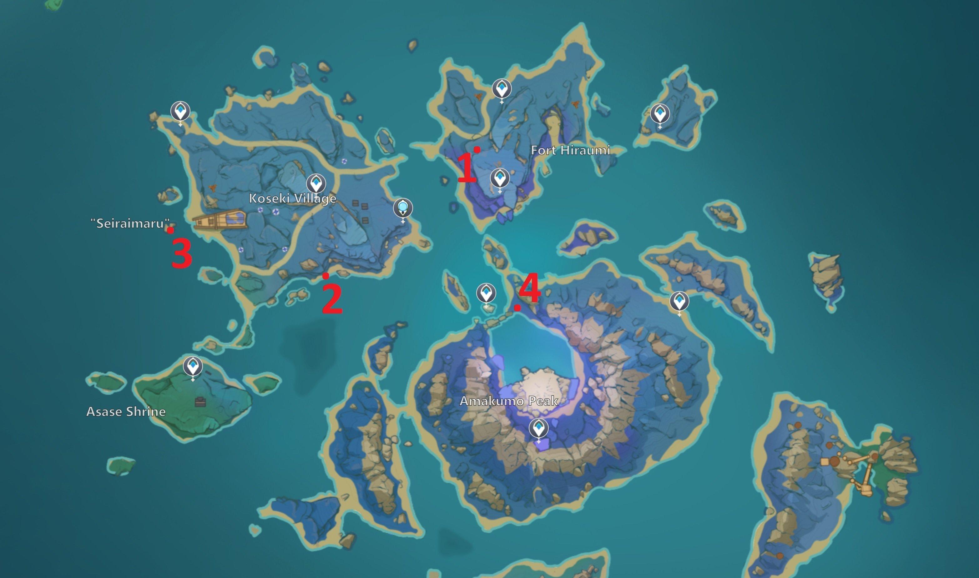 Genshin Impact Reminiscence of Seirai locations guide © miHoYo